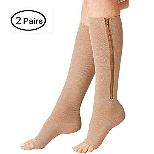 (2 Pairs) Compression Socks, New Compression Zip Sox Socks Stretchy Zipper Leg Support Unisex Open Toe Knee Stockings (2Pair-L/XL, Beige)