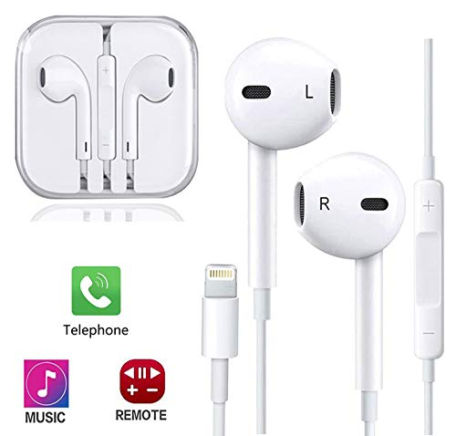 ZestyChef Earbuds, Microphone Earphones Stereo Headphones Noise Isolating Headset Fit Compatible with iPhone 7/7 Plus/8/8Plus/X 10/XS Max/XS/XR (White)