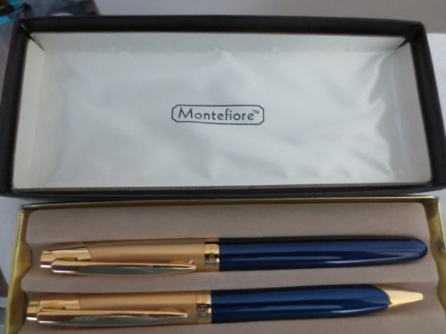 Montefiore Pen Set ... 2 Blue and Gold Pens ... New Old Stock ... no guarantee on ink working