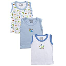 3-Pack Sleeveless Tee Tops in Bug blue, 0-3 months