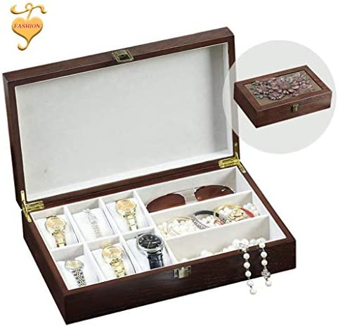 Jewelry boxes Fashion Schmuck Aufbewahrungsbox Desktop-Aufbewahrungsbox Retro Hause Aufbewahrungsbox Holz Aufbewahrungsbox Creative Schnitzen (Color : Brown, Size : 33.5 * 20.5 * 8CM)