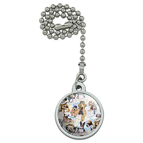 GRAPHICS & MORE Cool Dogs on Framed on Fence Pattern Ceiling Fan and Light Pull Chain