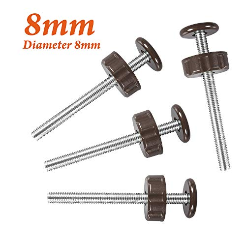 8MM Threaded Spindle Rods, PRObebi Pressure Gates Threaded Spindle Rods with Adjustment Wheel Baby Gate Accessories Spindle Screw Bolts, 4 Pack, Brown
