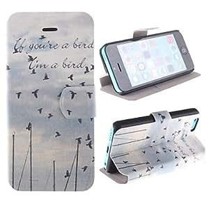 YULIN los pájaros que vuelan de la PU caso de cuerpo completo con ranura para tarjeta y presentarse a 5c iphone