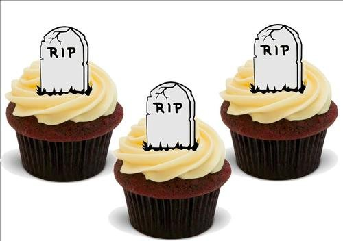 HALLOWEEN RIP Tombstone 12 Edible Standup Premium Wafer Cake Toppers ()