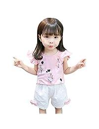 datework Children Toddler Kids Baby Boy Girl 3D Cartoon Tops T-Shirt Shorts Outfits Set