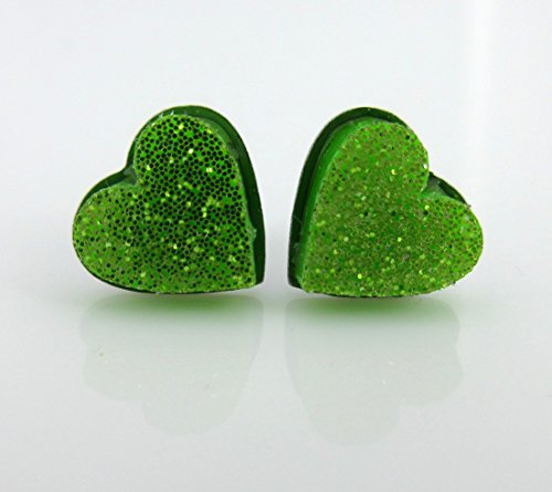 Stainless Steel Lime Green Glitter Acrylic Heart Stud Earrings 8mm