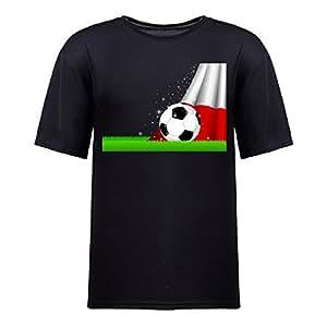 Custom Mens Cotton Short Sleeve Round Neck T-shirt,2014 Brazil FIFA World Cup Soccer Poland black by icecream design