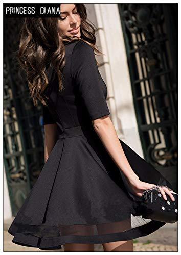 Autunno Dress Black Retro Fashion Mesh Mensdxa Ucraino Stile Abito tsdhrQ