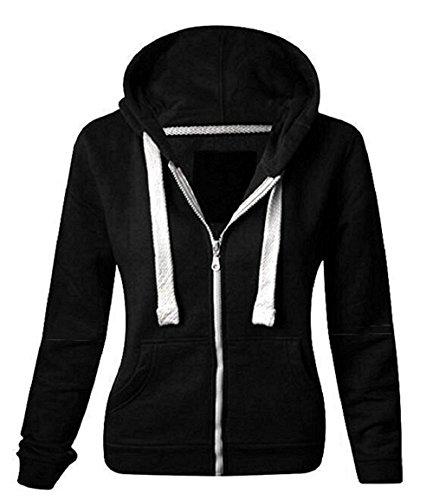 Women Ladies Plain Long Sleeve Hood Drawstring Gym Casual Wear Zip Hoodie Sweatshirt Plus (Paris Hilton Hoodie)