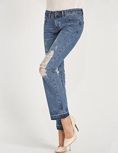 Femme Taille Mia vas Regular Camii Destroyed Fit Flare Dchir Bleu Normale Jeans q7K6g