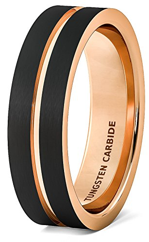 Mens Wedding Band Brushed Black Tungsten Ring 6mm Rose Gold Groove Flat Edge Comfort Fit (9) (Rings For Tungsten Black Men 6mm)