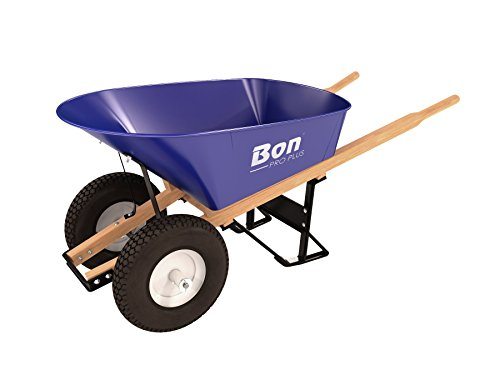 Bon 11 676 Premium Contractor Grade Steel Double Wheel Wheelbarrow with Wood Hande and Knobby Tire, 6 Cubic Feet For Sale