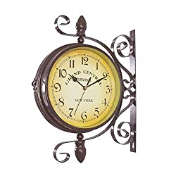 Double Sided Wall Clock - Wrought Iron Vintage-Inspired Station Clock with Scroll Wall Side Mount - 360 Degree Rotation Home Décor Wall Clock