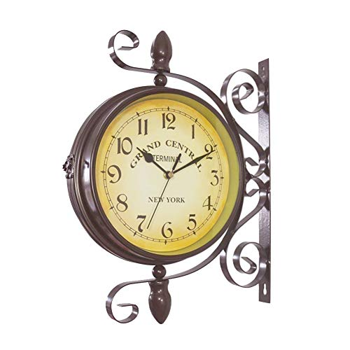 (Double Sided Wall Clock - Wrought Iron Vintage-Inspired Station Clock with Scroll Wall Side Mount - 360 Degree Rotation Home Décor Wall Clock)