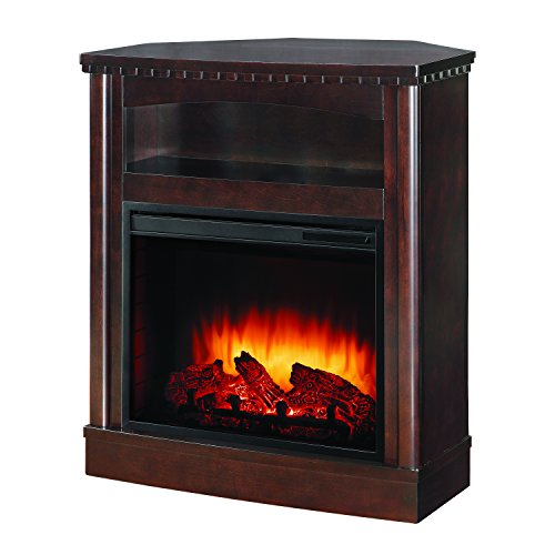 Pleasant Hearth Thompson Compact Wall/Corner Media Fireplace, Mocha Compact Corner Electric Fireplace