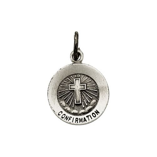 R5045 Sterling Silver 11.75 Mm Polished Rd Confirmation Cross Pend Med