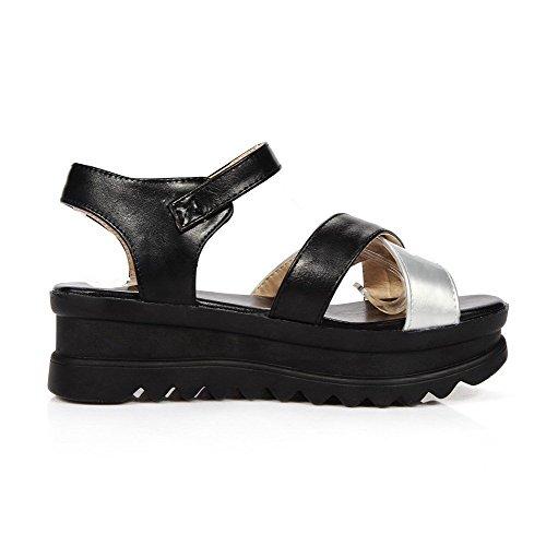 AllhqFashion Women's Open Toe Buckle PU Solid Kitten Heels Sandals Black 7zjOV