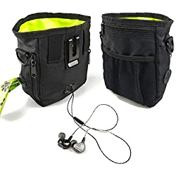 Dog Treat Pouch with 2 Built-in Poop Bag Dispensers - Lightweight Pet Training Bag, Easily Carries Kibble, Toys - Black & Green Treat Tote Bag, 3 Ways to Wear