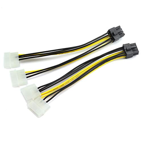 DZS Elec 2pcs Dual Molex 4-Pin Male to 8-Pin Male PCI Express Power Converter Cable for Video Card Pci-e ATX PSU Power Supply - 2X Molex to PCIe Adapter 20cm