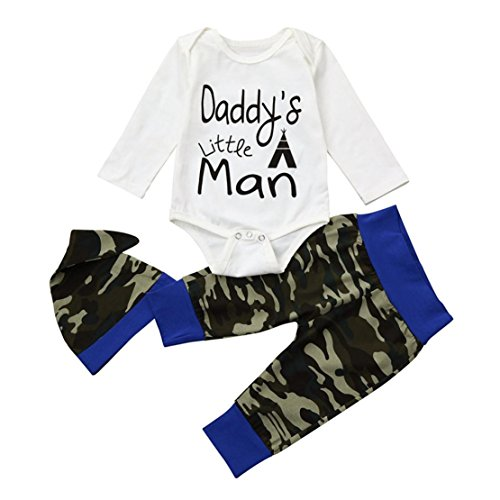 DORIC Clothes for Baby Boys Letter Print Romper + Pants + Hat Outfits (Suspender Outfit Dancer)