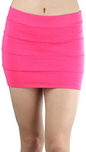 (ToBeInStyle Women's Highwaist Form Fitting Sweater Mini-Skirt - L Coral - Medium)