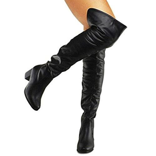 Premier Standard Damen Overknee Stretch Boot - Trendy Niedriger Block Fersenschuh - Sexy Overknee Pullon Boot - Bequemer Easy Heel Boot Premier Schwarz Pu