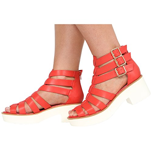 Ankle Sandals Red COLLECTION CORE Size Buckle Triple 3 Ladies Gladiator Pu 8 Zip Womens Block New Heel MID H7qwPF