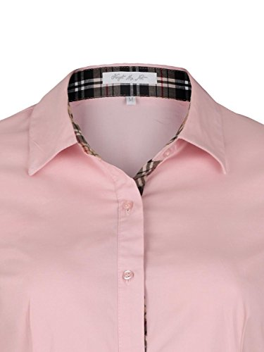 Danaest - Camisas - corte imperio - Básico - Clásico - Manga Larga - para mujer Rosa