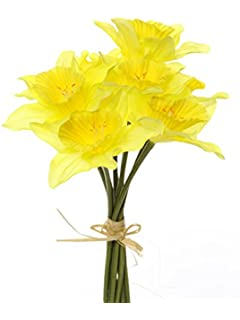 Floristrywarehouse artificial daffodils bunch 14 stems of bright artificial silk daffodil flowers 34cm long 9 stems tied bundle mightylinksfo