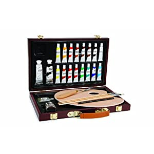 Darice 745566281561 1103-083 Studio 71, 27 Piece Acrylic Painting Set, Wood Box, Brown