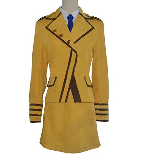 NSOKing Anime Full Metal Panic! Teletha Testarossa Uniform Suit Dress Outfit (Large, Yellow Set)