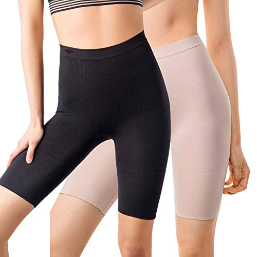 +MD Women's Tummy Control High Waist Plus Size Shapewear Panties Mid Thigh Rear Lifting Shaper Slimmer Power Shorts XLarge Black/Nude