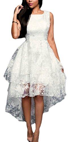 Jaycargogo Femmes Salut-lo Robe De Demoiselle D'honneur Robes Formelles De Dentelle Blanc Élégant