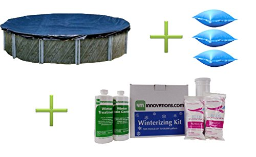 Swimline 24 Ft Round Pool Cover, Three 4'x4' Air Pillows and Winterizing Kit (Best Rated Above Ground Pool Covers)