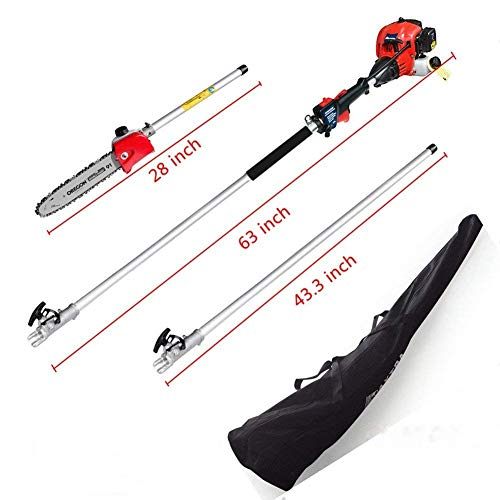 Maxtra Pole Saw,Powerful Gas Pole Chainsaw 42.7CC 2-Cycle 8.2 FT to 11.4 FT Cordless Extension Pole Saw Tree Trimmer Long Reach Saw with Carry -