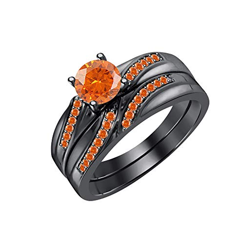 tusakha 1.30CTW Orange Sapphire Wedding Band Engagement Ring Set Bridal Ring 14k Black Gold Over 925 Sterling Silver -