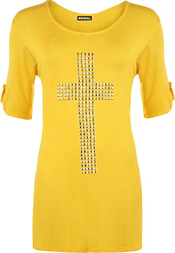 WearAll Women's Plus Size Flared Cross Stud Short Ladies Short Sleeve Tunic Top - Yellow - US 18-20 (UK 22-24)