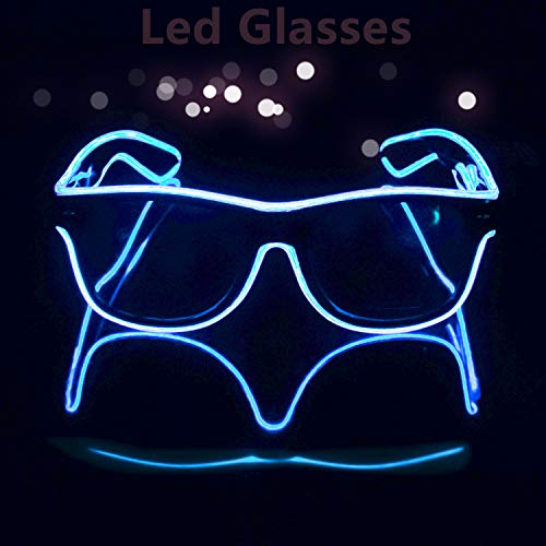 Blazing Fun El Wire Glow Glasses Led DJ Bright Light Safety Light Up Multicolor led flashing glasses with 4 Modes for Halloween Christmas Birthday Party -