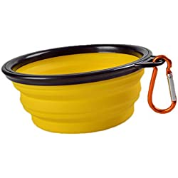 Freerun Collapsible Travel Dog Bowl Carabiners Included - Pet Travel Bowl for Food & Water Bowls (Yellow)