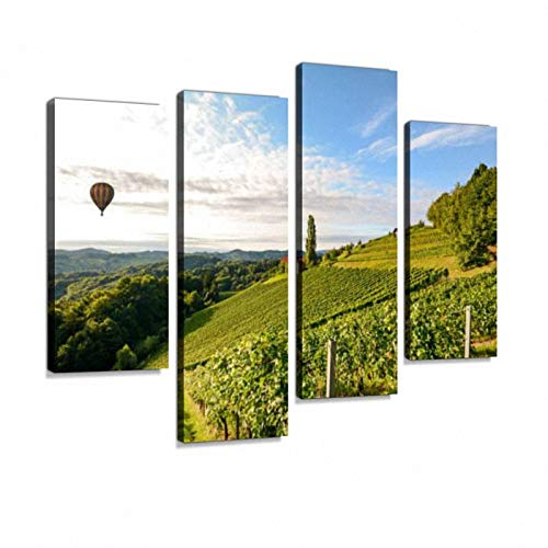 Vineyards hot air Balloon Winery Harvest Wine Growing Area Italy Europe Canvas Wall Art Hanging Paintings Modern Artwork Abstract Picture Prints Home Decoration Gift Unique Designed Framed4 Panel