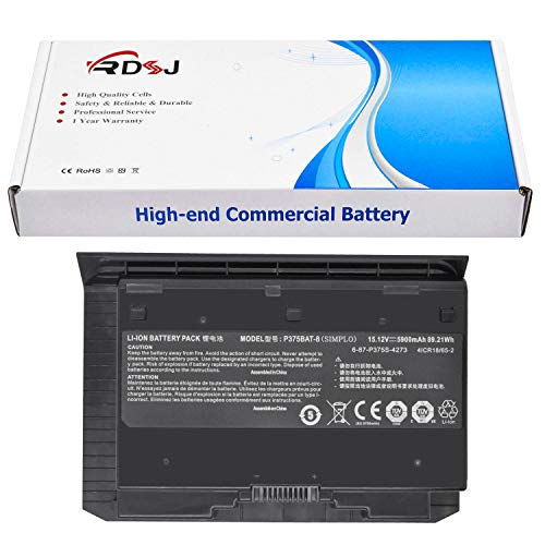 P375BAT-8 Laptop Battery Compatible Clevo Sager NP9377 NP9377-S NP9390 NP9390-S P375S P375SM-A P377SM EUROCOM X7 X8 Series 6-87-P375S-4271 6-87-P375S-4272 6-87-P375S-4273 15.12V 5900mAh 89.21Wh