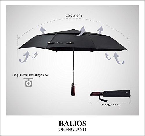 Balios Real Wood Handle Umbrella Windproof Fiberglass Steel Auto Open & Close Travel Folding with 300T Finest Fabric-Vented Double Canopy—Men's & Ladies by Balios (Image #2)