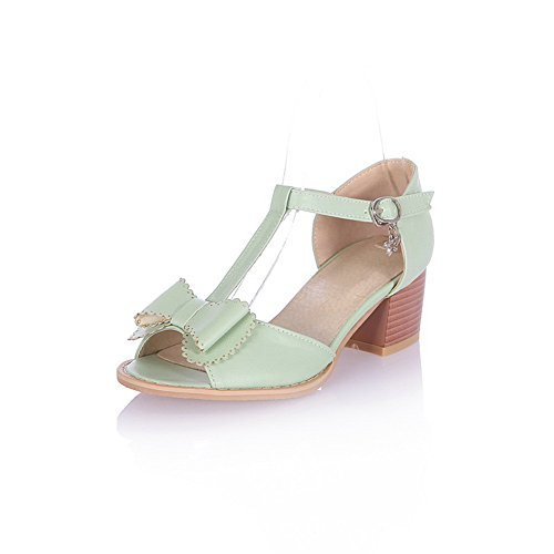 5 Sandals Solid Open Bowknot with M B Peep Soft Material Heel Toe Womens PU and Kitten US Buckle Green WeenFashion Avxawa