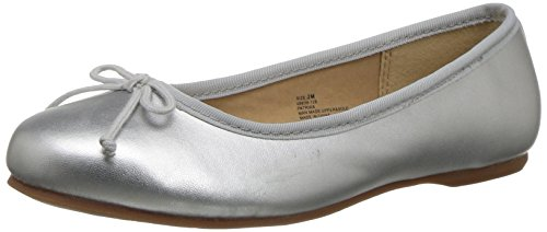 Hanna Andersson Girls' Patrika Ballet Flat Sneaker, Silver, 3.5 M US Big (Youth Silver Leather Footwear)
