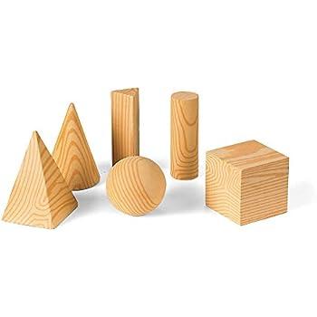 ETA hand2mind Wood Geometric Solid Shape Blocks (Set of 6)