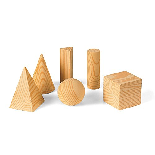 hand2mind Wood Geometric Solid Blocks, 3D Shapes (Set of 7)