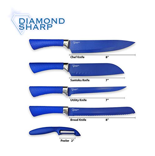 Diamond Gourmet DSMC6/DSKS 4 Pack Diamond Sharp Chef Knife Set, 1 box (4 units), Blue