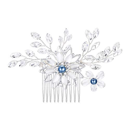 BriLove Wedding Hair Accessories Bridal Hair Comb Blue Simulated Pearl Crystal Enamel Leaf Marquise Flower Hair Comb Clear Silver-Tone