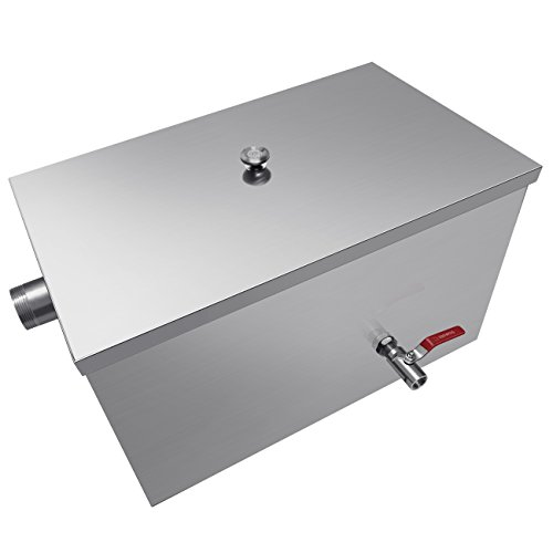 INJASWISE Commercial 25LB Grease Trap 13GPM Stainless Steel for Restaurant Kitchen